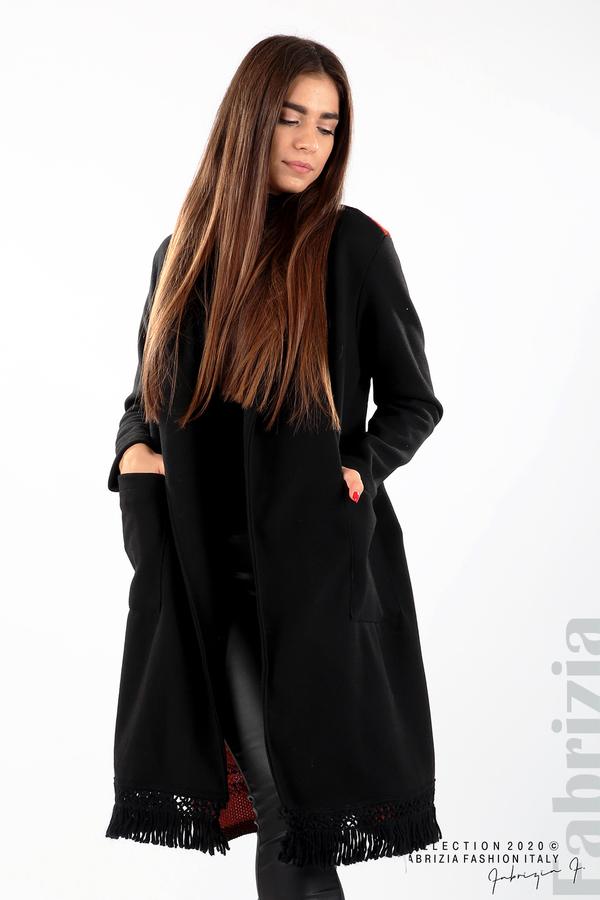 Палто с ресни и ефектен гръб черен/бежов 2 fabrizia
