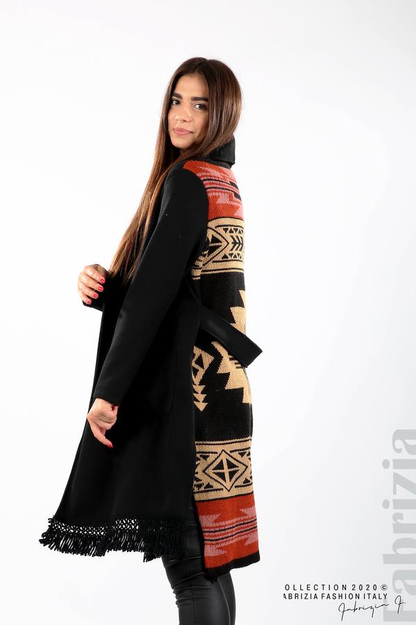 Палто с ресни и ефектен гръб черен/бежов 4 fabrizia