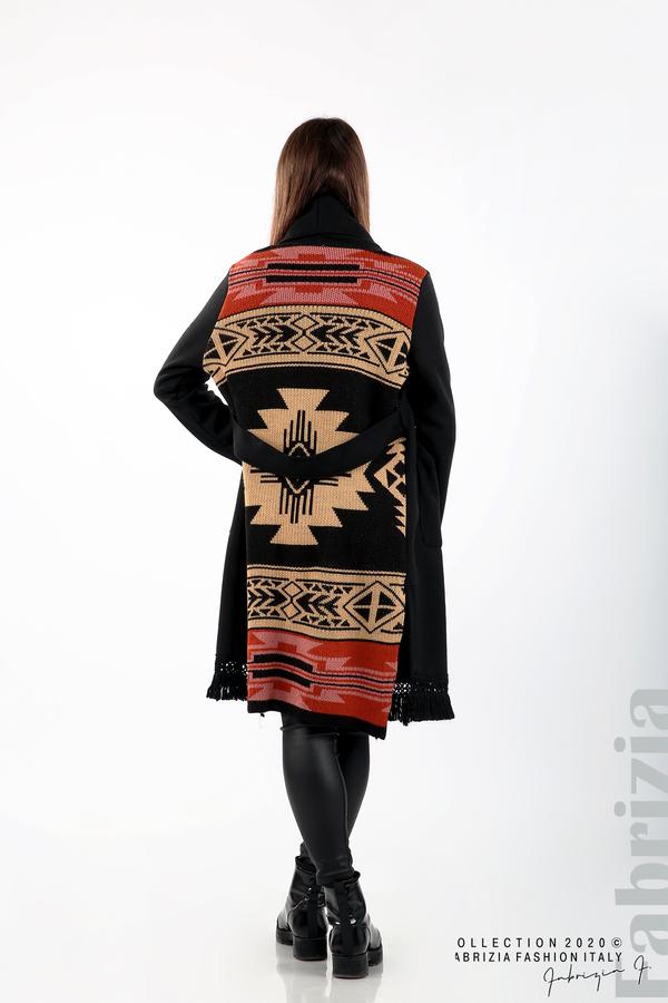 Палто с ресни и ефектен гръб черен/бежов 6 fabrizia