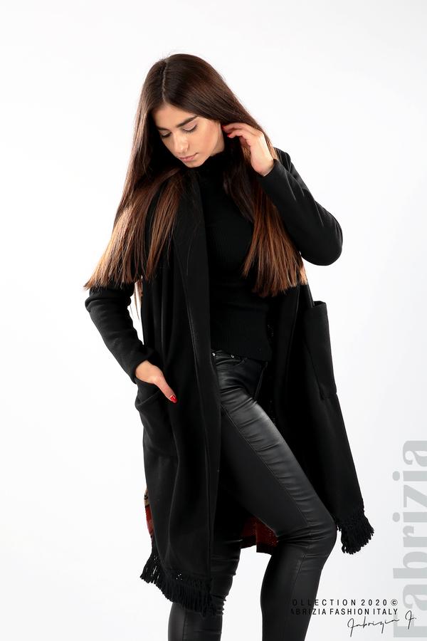 Палто с ресни и ефектен гръб черен/бежов 5 fabrizia