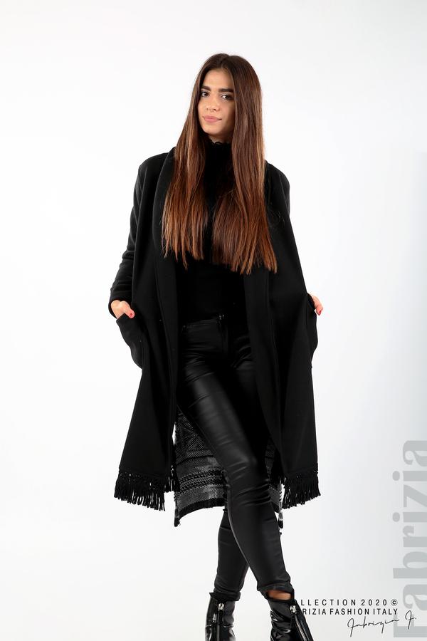 Палто с ресни и ефектен гръб черен/сив 1 fabrizia
