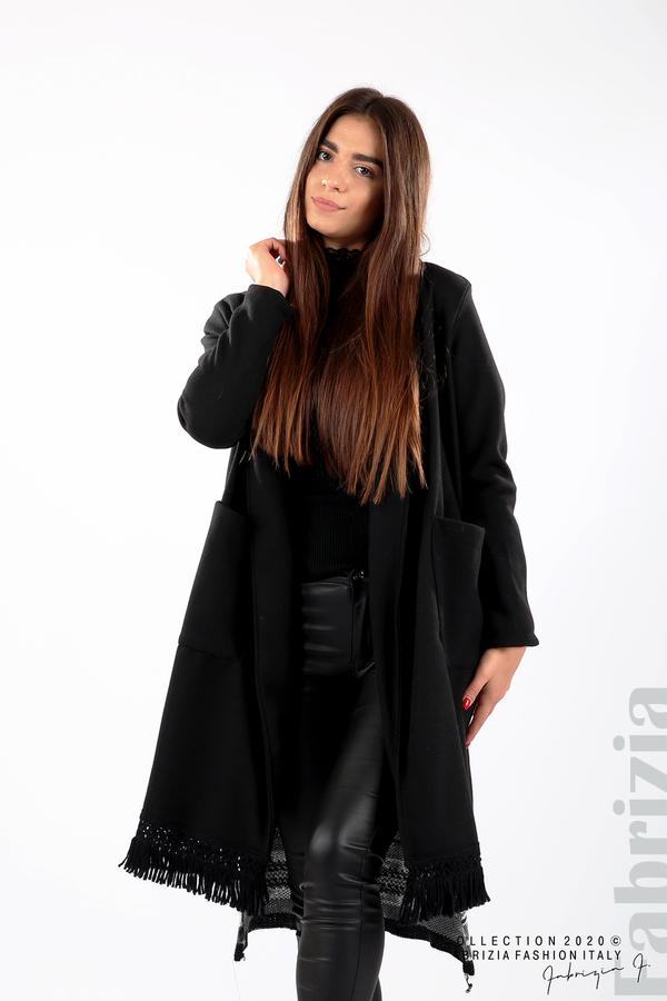 Палто с ресни и ефектен гръб черен/сив 3 fabrizia
