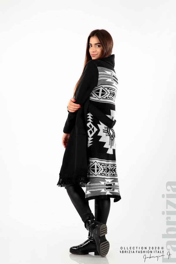 Палто с ресни и ефектен гръб черен/сив 2 fabrizia