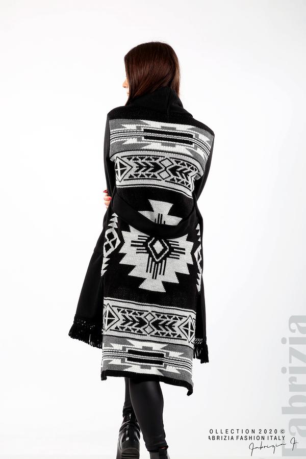 Палто с ресни и ефектен гръб черен/сив 5 fabrizia