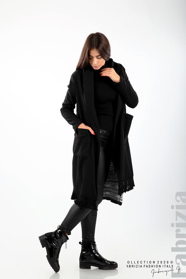 Палто с ресни и ефектен гръб черен/сив 4 fabrizia