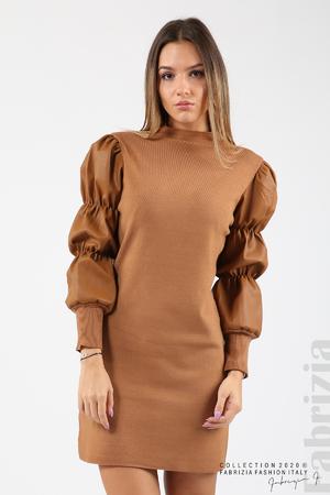 Къса рокля рипс с кожени ръкави