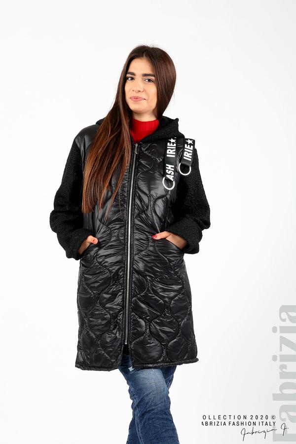 Дълго яке с качулка и декоративни ленти черен 1 fabrizia