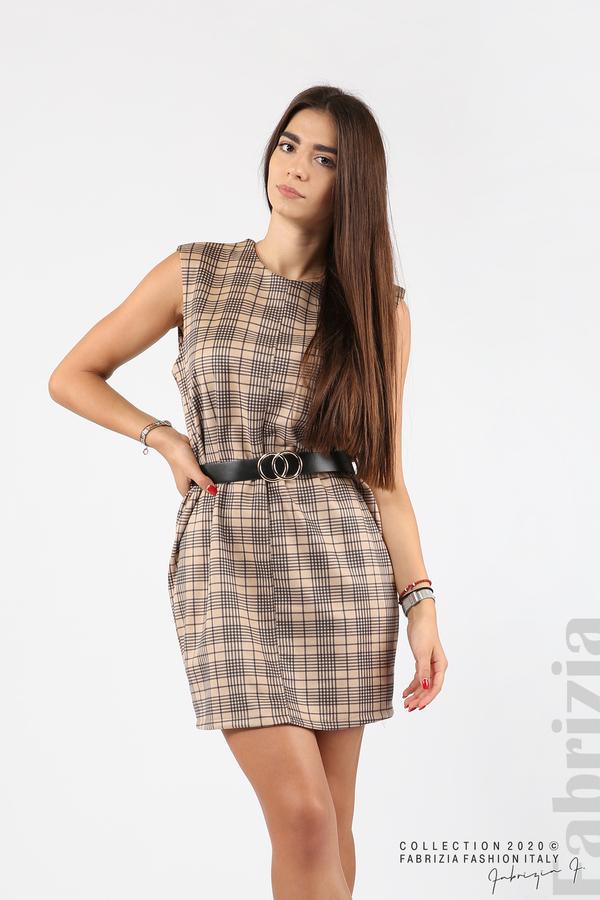 Къса карирана рокля с аксесоар бежов 1 fabrizia