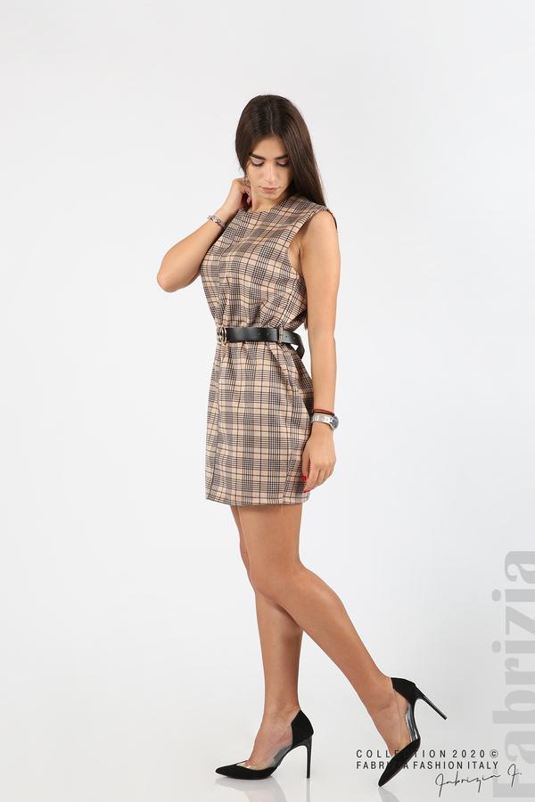 Къса карирана рокля с аксесоар бежов 5 fabrizia