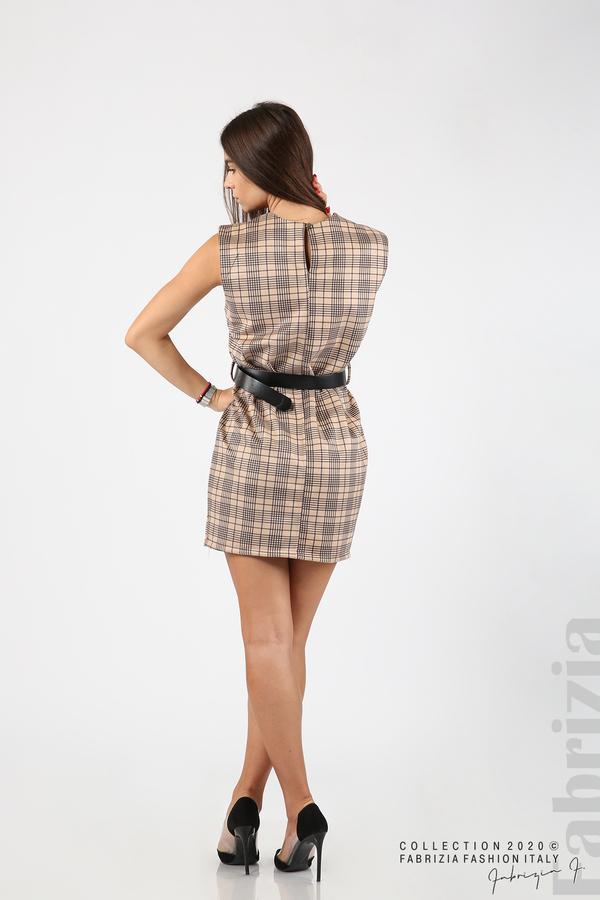 Къса карирана рокля с аксесоар бежов 7 fabrizia