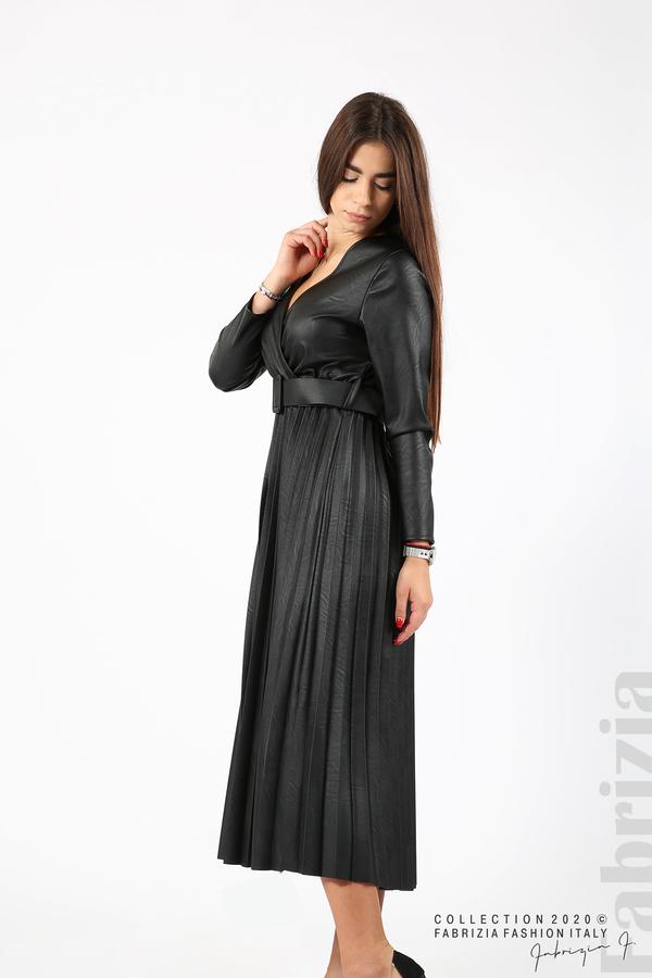 Дълга кожена рокля черен 4 fabrizia