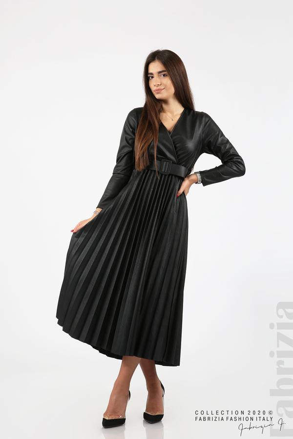 Дълга кожена рокля черен 1 fabrizia