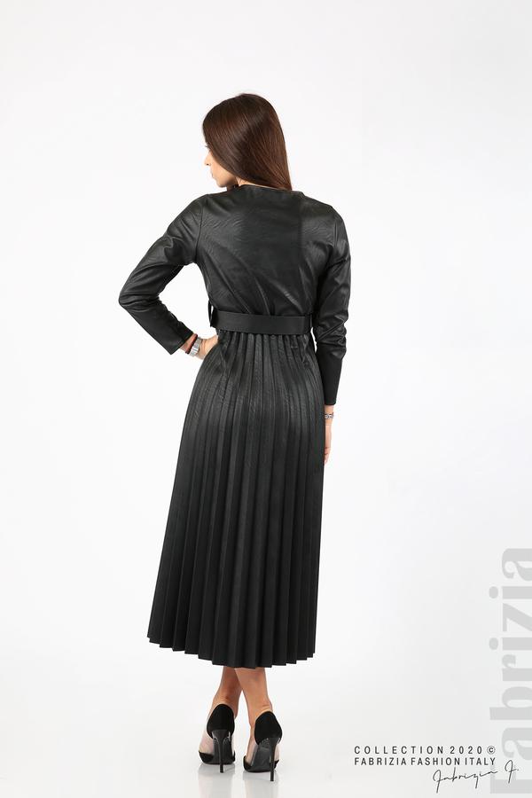 Дълга кожена рокля черен 6 fabrizia