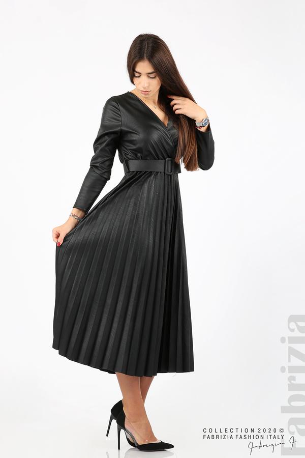 Дълга кожена рокля черен 5 fabrizia