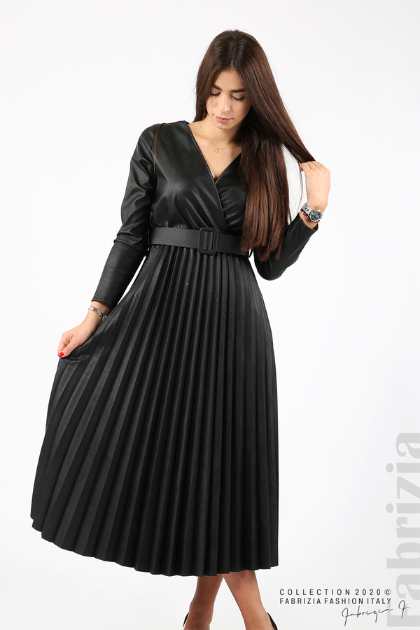 Дълга кожена рокля черен 3 fabrizia