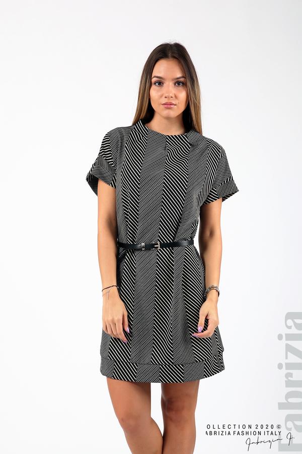 Къса фигурална рокля черен/бял 4 fabrizia