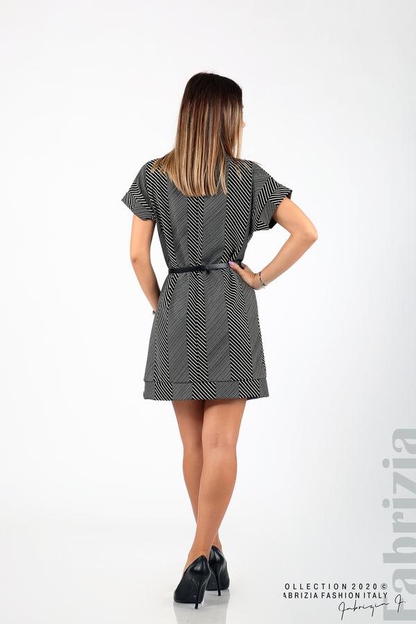 Къса фигурална рокля черен/бял 6 fabrizia