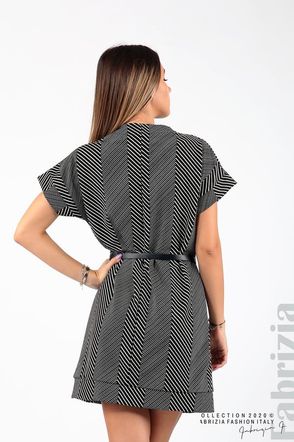 Къса фигурална рокля черен/бял 7 fabrizia