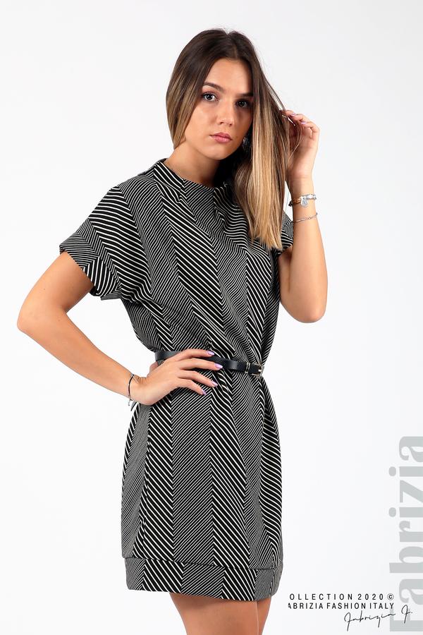 Къса фигурална рокля черен/бял 5 fabrizia