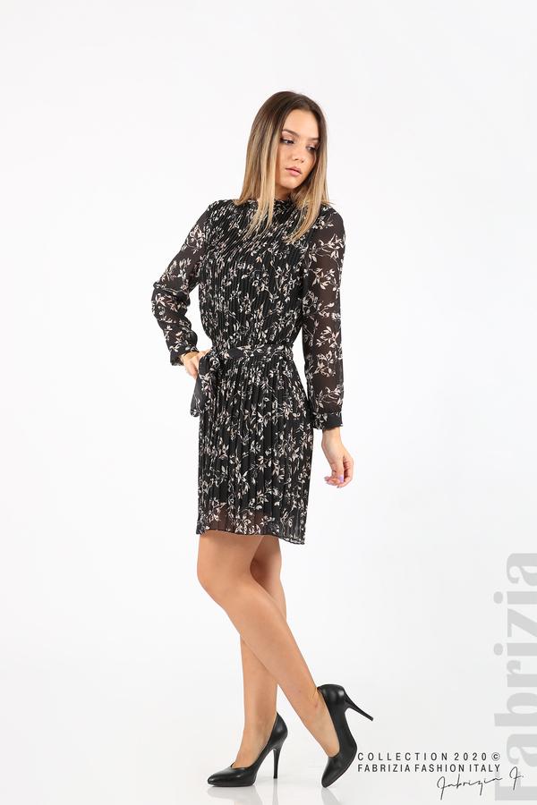 Къса рокля солей с флорални елементи черен 3 fabrizia