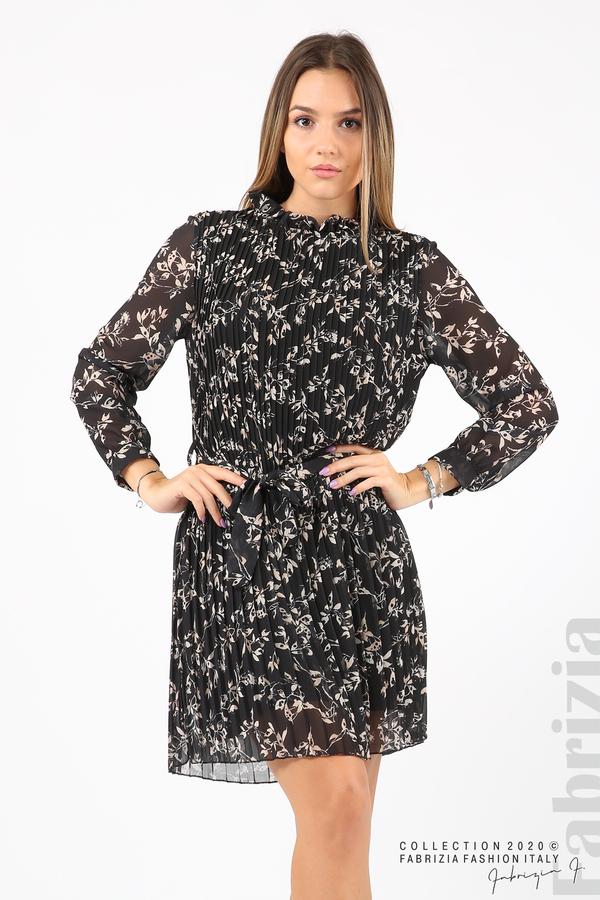 Къса рокля солей с флорални елементи черен 4 fabrizia