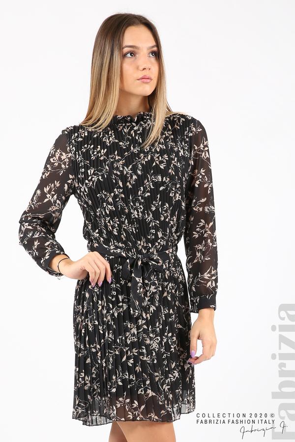 Къса рокля солей с флорални елементи черен 2 fabrizia