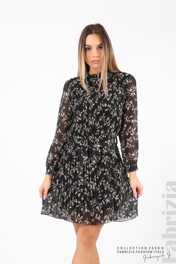 Къса рокля солей с флорални елементи черен 1 fabrizia