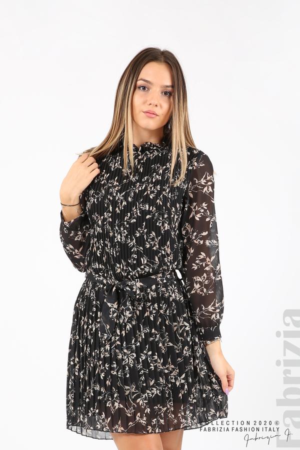 Къса рокля солей с флорални елементи черен 5 fabrizia