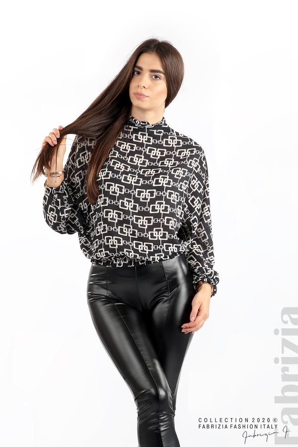 Ефирна блуза с фигурални елементи графит 4 fabrizia