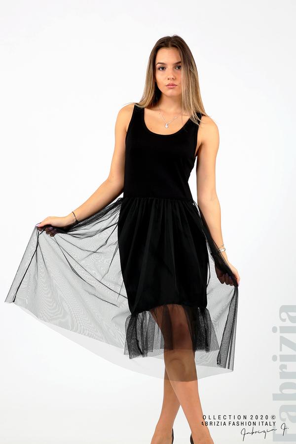 Трикотажна рокля с тюл черен 2 fabrizia