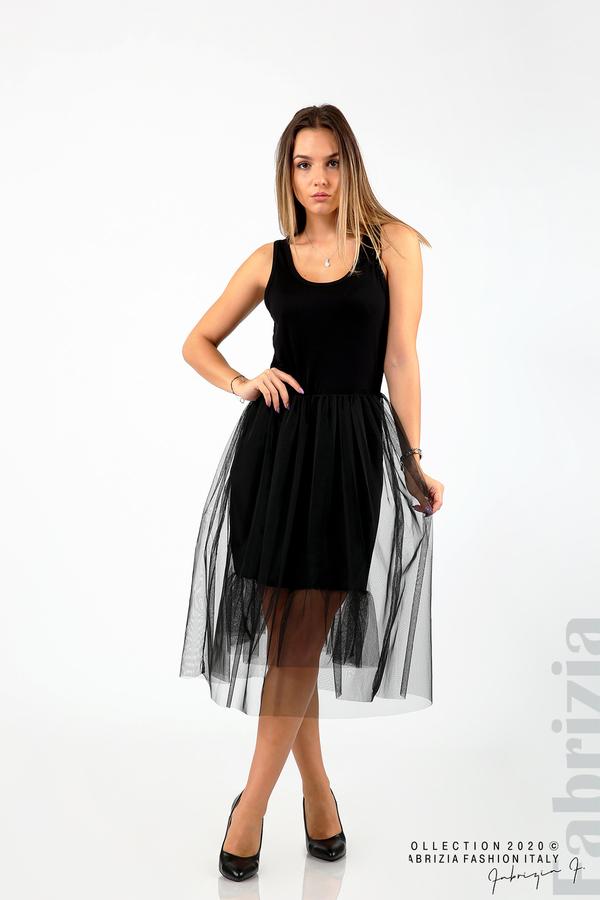 Трикотажна рокля с тюл черен 1 fabrizia
