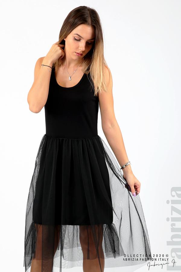 Трикотажна рокля с тюл черен 3 fabrizia