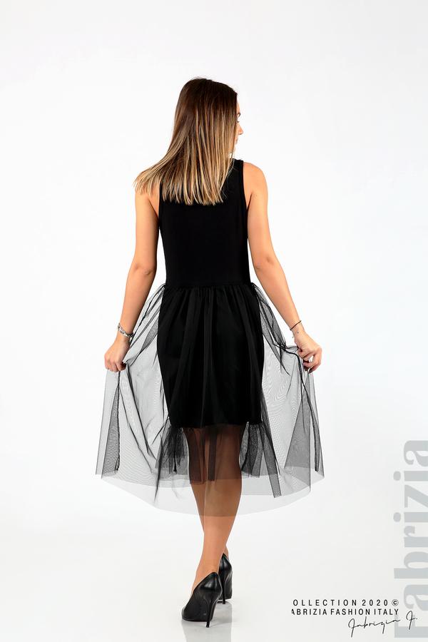 Трикотажна рокля с тюл черен 5 fabrizia