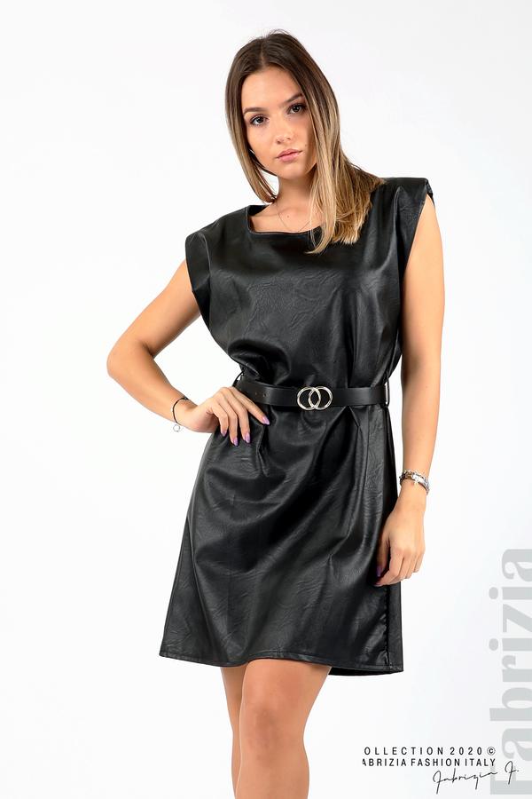 Къса кожена рокля с аксесоар черен 2 fabrizia