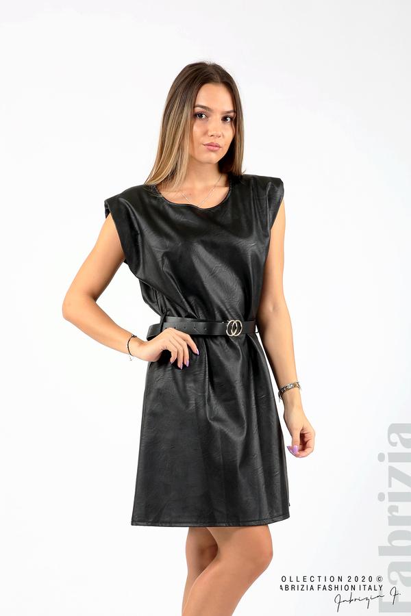 Къса кожена рокля с аксесоар черен 4 fabrizia