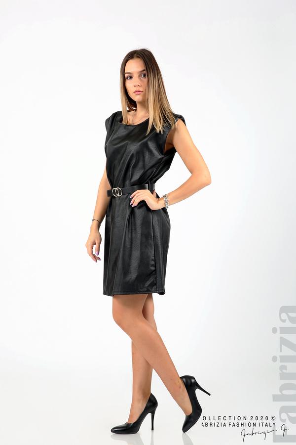 Къса кожена рокля с аксесоар черен 3 fabrizia