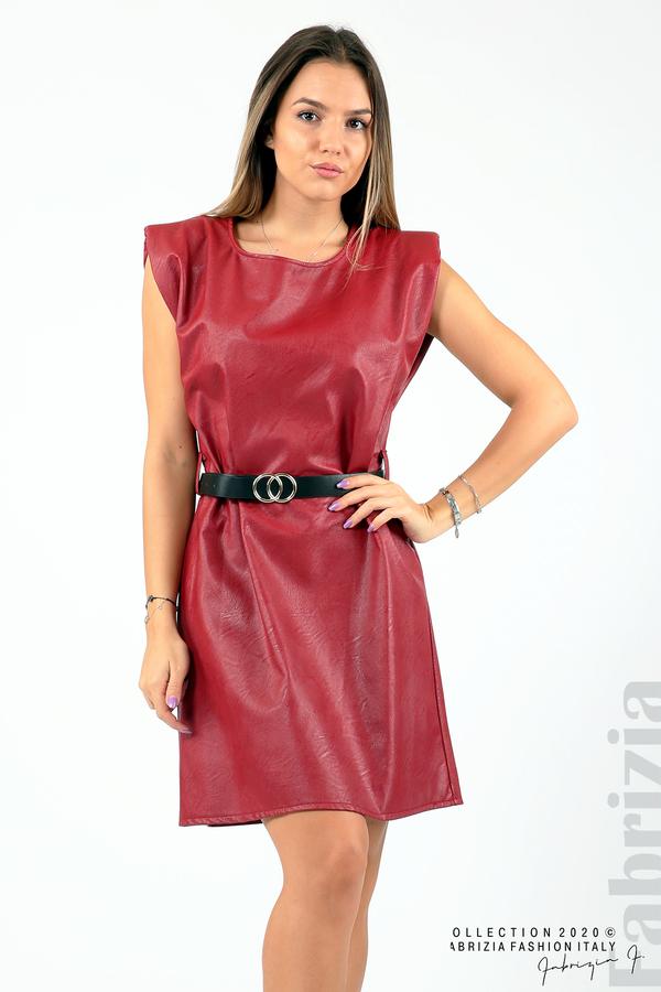 Къса кожена рокля с аксесоар червен 2 fabrizia