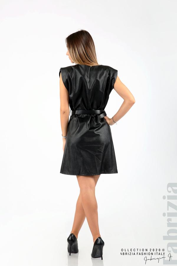 Къса кожена рокля с аксесоар черен 5 fabrizia