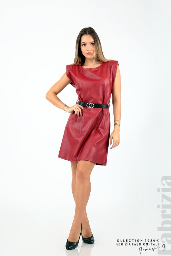 Къса кожена рокля с аксесоар червен 3 fabrizia