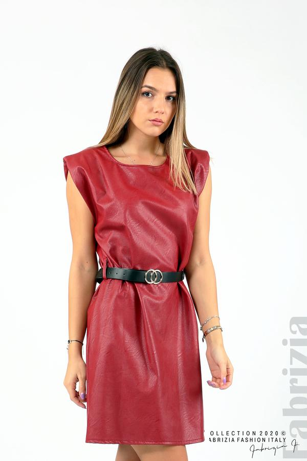 Къса кожена рокля с аксесоар червен 1 fabrizia