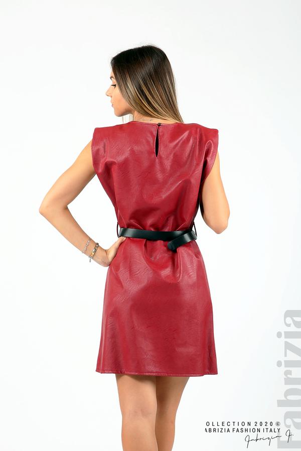 Къса кожена рокля с аксесоар червен 5 fabrizia