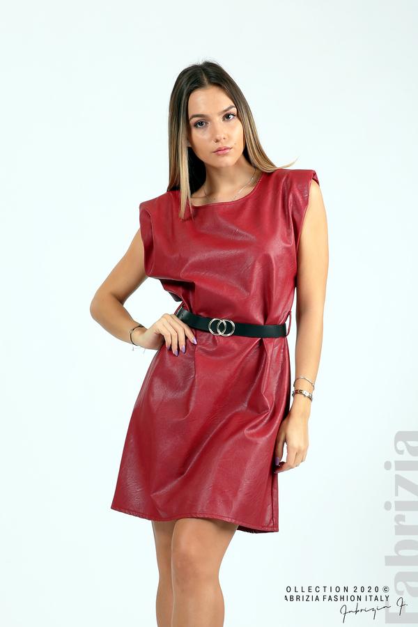 Къса кожена рокля с аксесоар червен 4 fabrizia