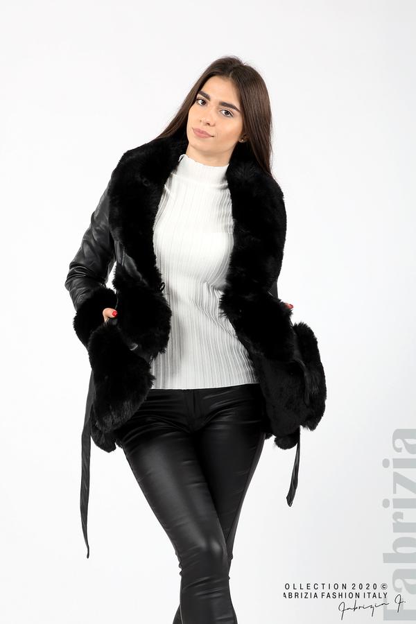 Кожено палто с колан черен 1 fabrizia