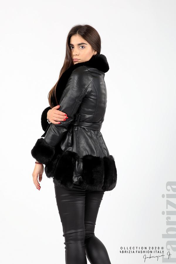 Кожено палто с колан черен 7 fabrizia