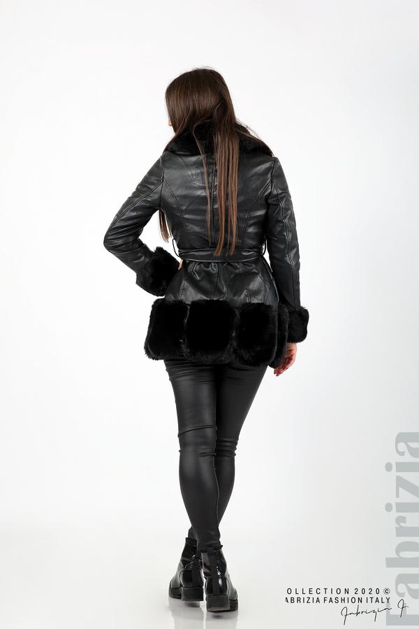Кожено палто с колан черен 8 fabrizia