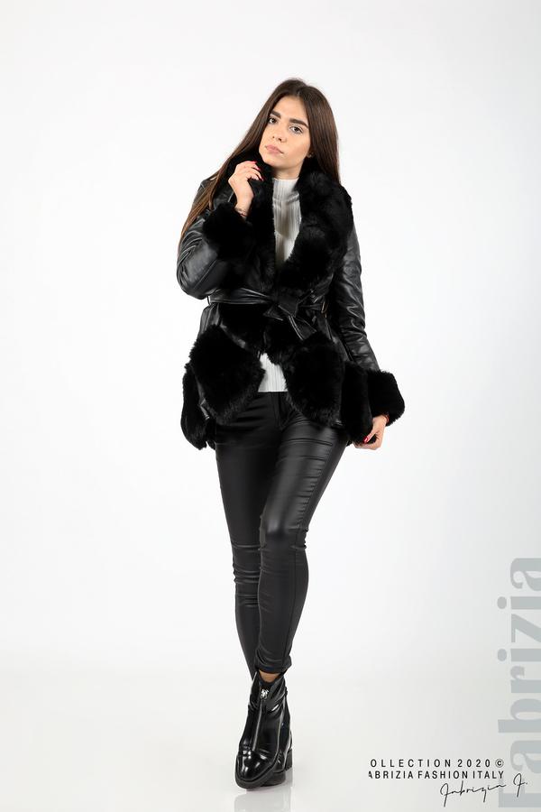 Кожено палто с колан черен 4 fabrizia