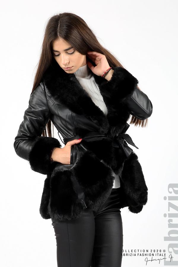 Кожено палто с колан черен 5 fabrizia