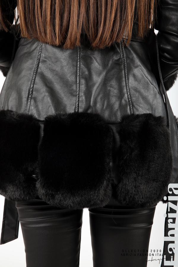 Кожено палто с колан черен 9 fabrizia
