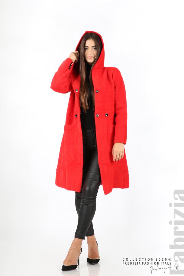 Дълго палто с качулка червен 3 fabrizia
