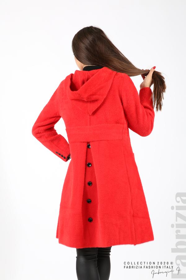 Дълго палто с качулка червен 1 fabrizia